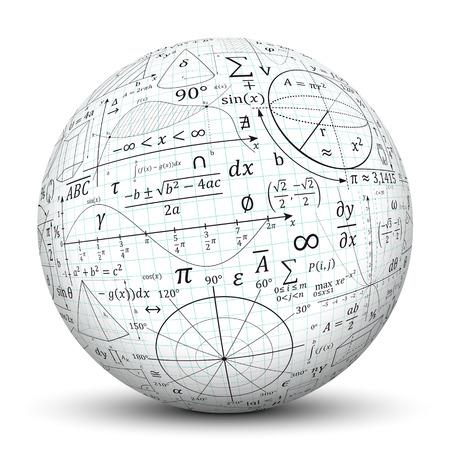 geometria: Huellas formulario matemáticos sobre Esfera blanco.