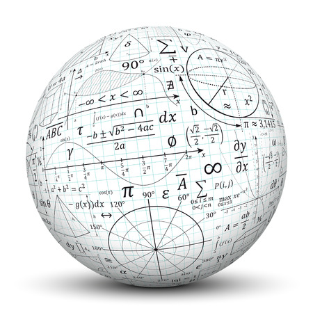 sphere: Mathematical formulary imprints on white Sphere.