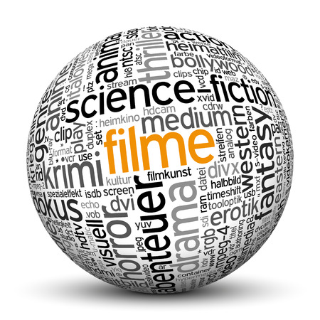 to keyword: 3D Sphere on white background with word cloud Texture Imprint. This ball with tag cloud text are in German and English Language. Main keyword is movies.