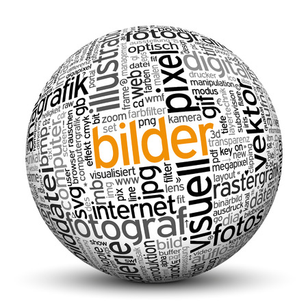 noun: 3D Sphere on white background with word cloud Texture Imprint. This ball with tag cloud text are in German and English Language. Main keyword is images.