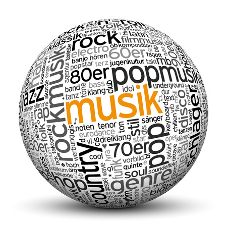 musik: 3D Sphere on White Background with Word Cloud Texture Imprint. This Ball with Tag Cloud Text are in German and English Language. Main Keyword is Musik. Stock Photo