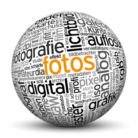 cloud tag: 3D Sphere on white background with word cloud Texture Imprint. This ball with tag cloud text are in German and English Language. Main keyword is Photos.