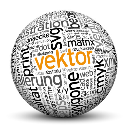 imprint: 3D Sphere on White Background with Word Cloud Texture Imprint. This Ball with Tag Cloud Text are in German and English Language. Main Keyword is Vektor. Stock Photo