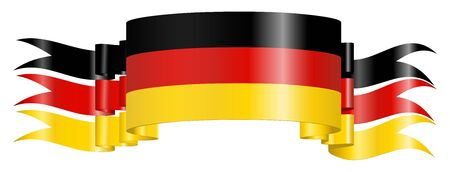 banderole: Scrolled German Flag on White Background Stock Photo