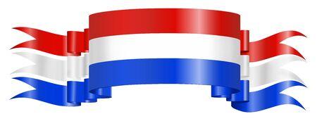 drapeau hollande: Scrolled Pays-Bas - Hollande - Drapeau sur fond blanc