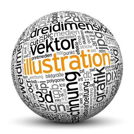 noun: 3D Sphere on White Background with Word Cloud Texture Imprint. This Ball with Tag Cloud Text are in German and English Language. Main Keyword is Illustration.