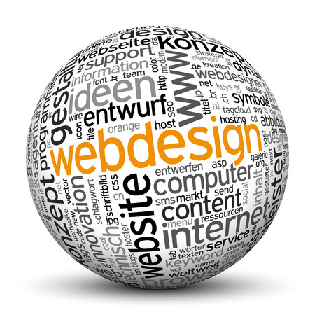 tag cloud: 3D Sphere on White Background with Word Cloud Texture Imprint. This Ball with Tag Cloud Text are in German and English Language. Main Keyword is Webdesign. Stock Photo