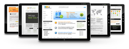 service provider: Tablets with Several Webdesign Templates on White Background with Smooth Shadow - Graphic Illustration