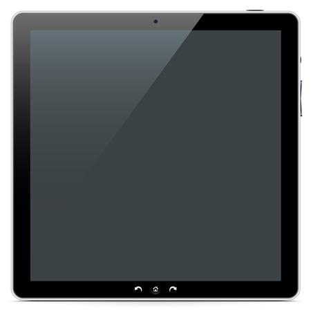 monitor de computadora: El frente de un cuadrangular Resumen de Tablet PC en el fondo blanco con la sombra suave. Foto de archivo