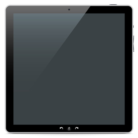 touch: The Front of a Squarish Abstract Tablet PC on White Background with Smooth Shadow. Stock Photo
