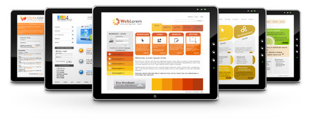 submission: Tablets with Several Webdesign Templates on White Background with Smooth Shadow - Graphic Illustration
