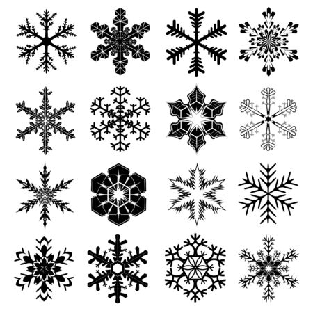 snow crystals: Snowflakes Set with 16 Snow Crystals for Christmas and Winter Design in Black with White Background Illustration