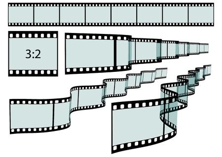 perforation: Transparent Film Strip Vector Illustration on White Background - Format 3:2 - Set, Collection