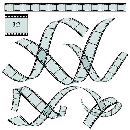 sequences: Transparent Film Strip Vector Illustration on White Background - Format 3:2 - Set, Collection