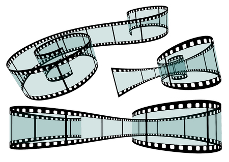 cinta pelicula: Transparente Ilustración tira de la película del vector en el fondo blanco - Formato 3: 2 - Conjunto, Colección Foto de archivo