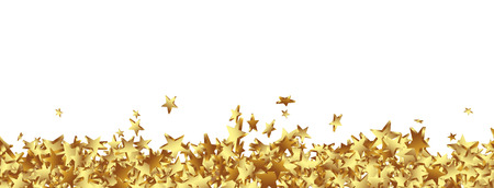 Golden starlets on the Ground Panorama - Isolated Horizontal banner with white background. Website Head template. Stock Photo