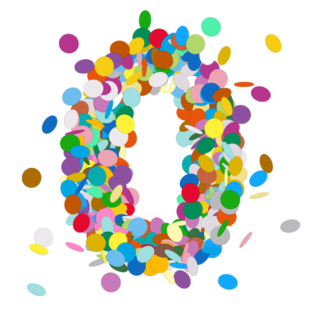 null: Abstract Colorful Vector Confetti Number Zero - Null - 0 - Birthday, Party, New Year, Jubilee - Number, Figure, Digit