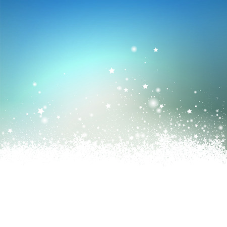 greeting season: Light Blue Snow Particle and Stars Effect Holiday Season Greeting Card Background - Christmas Card Backdrop with Gradient. Snowy Ground with Abstract Snowflakes.