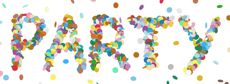 childrens birthday party: Abstract Confetti Word - PARTY Letter - Colorful Panorama Vector Illustration with Colored Chads Particle Stock Photo