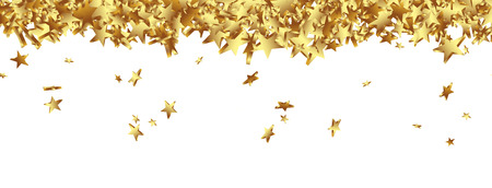 greeting christmas: Golden Starlets Falling on the Ground Panorama - Isolated Horizontal banner with white background. Website Head template.