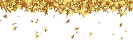 anniversario matrimonio: Starlets d'oro cadere a terra Panorama - Isolato Banner orizzontale con sfondo bianco. Sito modello Head.