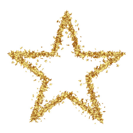 christmas icon: Star Shaped Golden Confetti Stars on White Background - Isolated Asterisks on White Background Stock Photo