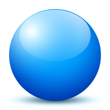 Beautiful Blue 3D Vector Sphere with Smooth Shadow and White Background - Marble, Glossy, Glass, Ball, Pearl, Globe - With Bright Reflection