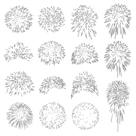 pyrotechnics: Collection of Vector Firework Rocket Explosion Sparks - Design Template Set of Effective Rocket Explosion Particle - Pyrotechnics Black Shapes