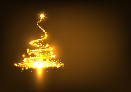 dark brown: Abstract Twinkling and Golden Glowing Fir Tree on Dark Brown Background - Christmas Greeting Card Template - Vector Illustration