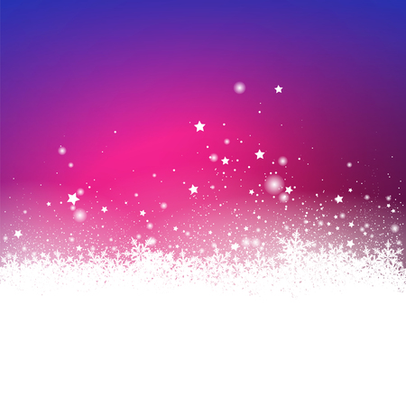 backdrops: Violet Snow Particle and Stars Effect Holiday Season Greeting Card Background - Christmas Card Backdrop with Gradient. Snowy Ground with Abstract Snowflakes.