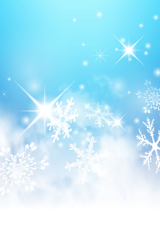 Abstract Light Blue, Turquoise - Winter Background - with Snowflakes and Starlets. Cold and Foggy Backdrop with Soft Highlights and Snow Flakes.