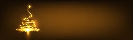 Abstrakte funkelnde und glühende Tanne auf dunkelbraunem Hintergrund Panorama - Weihnachtsgruß-Karte Design-Vorlage Hintergrund Vektor-Illustration mit Raum für freien Text Standard-Bild