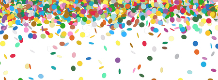 chads: Confetti Rain - Colorful Panorama Background Template - Falling Chads Banner Backdrop - Vector Illustration Stock Photo