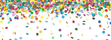 Confetti Regen - Bunte Panorama-Hintergrund-Schablone - Falling Chads Banner Hintergrund - Vektor-Illustration Standard-Bild