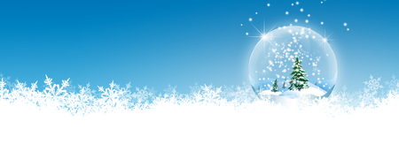 Abstract Winter Panorama Background with Azure Blue Sky - and Snowflakes with Crystal on the Ground. Backdrop with Snow Flakes on the Ground. Banner, Website Head Template. Banque d'images