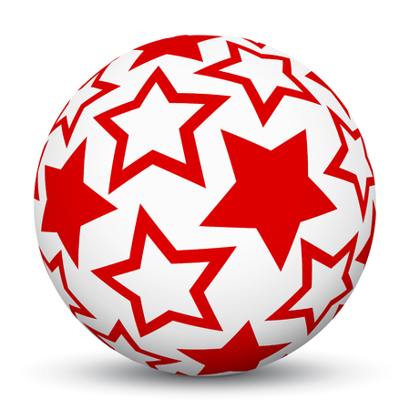 red star: White 3D Sphere with Mapped Red Star Texture on White Background and Smooth Shadow. Holiday Season - Christmas Symbol, Decoration, Decor, Icon.