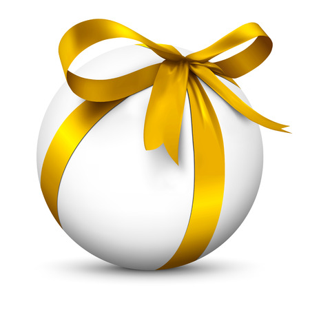 boxed: White 3D Sphere with Beautiful Wrapped Golden Ribbon Gift Package - Isolated on White Background with Smooth Shadow - Present, Christmas Gift, Surprise, Bow - Graphic Illustration