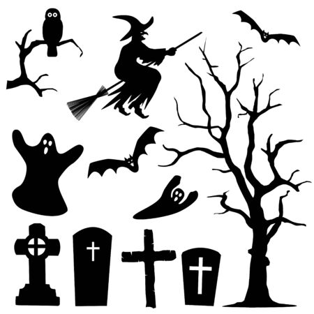 sibyl: Halloween Silhouette Collection Set - Black Shapes - Owl, Witch, Ghost, Branch, Cross, Bat - Vector Illustration