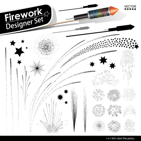 pyrotechnics: Collection of Vector Firework Rocket Explosion Effects - Set of Blasting Pyrotechnics. Black Shapes and Silhouettes. New Years Eve Design Template. Stock Photo
