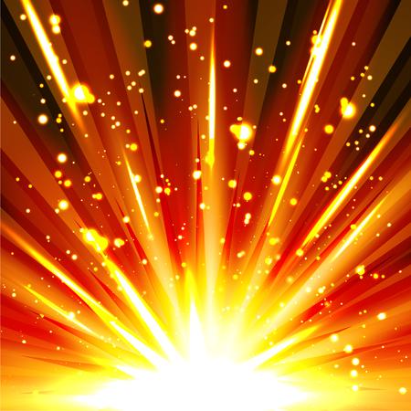 bide: R�sum� color� et puissant mod�le Explosion de fond avec des �tincelles et des particules. Bombe, Bang, Burst, Backdrop Firework Vectoriel. Banque d'images