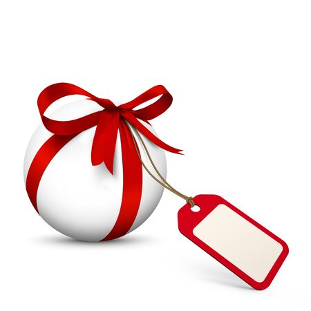 advertising space: White Sphere with Red Bow and Blank Gift Coupon. Isolated on White Background with Free Space for Advertising or Logo. Price Label, Gift Voucher for Holiday Season. Stock Photo