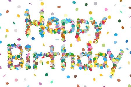 chads: Abstract Confetti Word - Happy Birthday Letter - Colorful Vector Illustration with Colored Chads Particle
