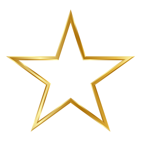 Golden Simple 3D Star Frame Isolated on White Background - Free Space for Design Elements - Graphic Illustration Banque d'images