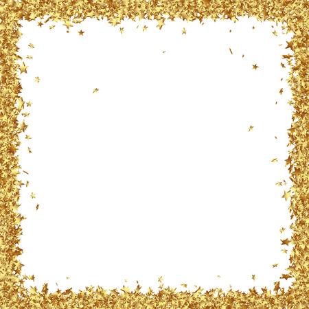 marco cumpleaños: Marco cuadrada Consta de asteriscos oro sobre fondo blanco - Golden confeti Estrellas Frontera Foto de archivo