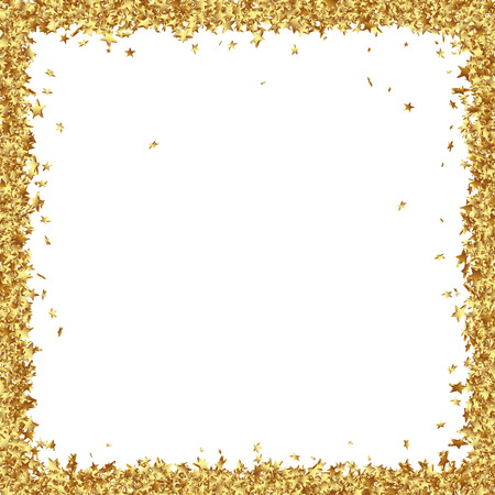 Squarish Frame Consists from Golden asterisks on White Background - Golden Confetti Stars Border Stock Photo