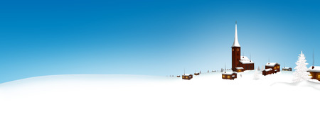 winter holiday: Beautiful Snowy Mountain Village Winter Landscape Panorama with Crystal Clear Blue Sky and Fresh Snow - Website Head Banner with Free Text Space