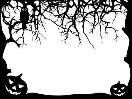 Abstract Halloween wenskaart sjabloon met Vrije tekst Space-Frame Silhouette - Pompoen, Owl, Branch - Black Shapes
