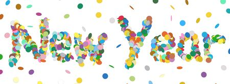 Abstract Confetti Word - New Year Letter - Colorful Panorama Vector Illustration with Colored Chads Particle