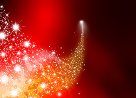 Abstract Bright Falling Star - Shooting Star with Twinkling Star Trail on Dark Red Abstract Background - Meteoroid, Comet, Asteroid - Backdrop Graphic Illustration Banque d'images