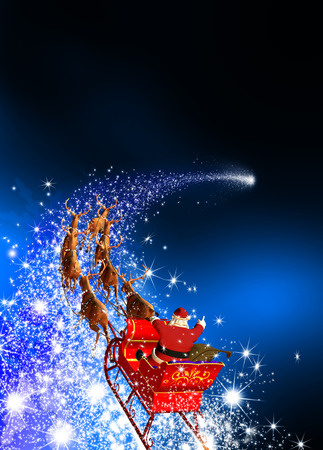 Santa Claus with Reindeer Sled Riding on a Falling Star. Abstract Holiday Season Christmas Design with Blue Gradient Background. Shooting Star, Meteor, Comet - X-Mas, XMas Greeting Card.